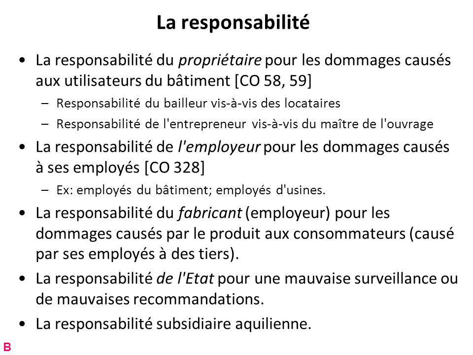 La responsabilité La responsabilité du propriétaire pour les dommages causés aux utilisateurs du bâtiment [CO 58, 59]